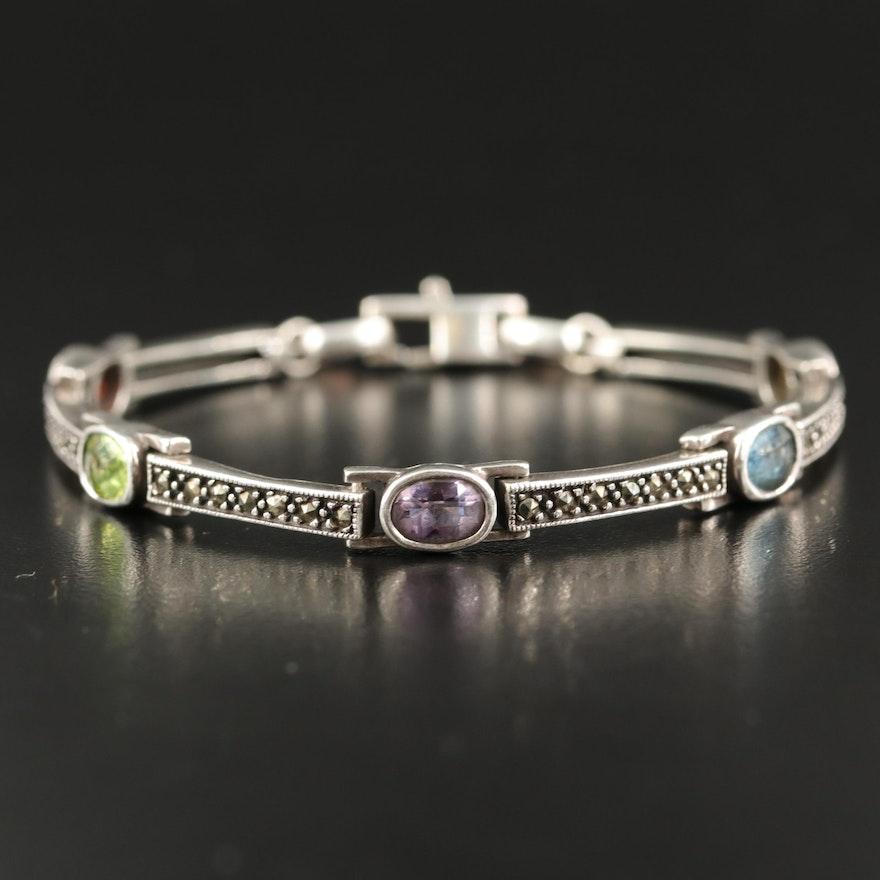 Sterling Mixed Gemstone Bracelet