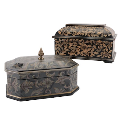 Maitland-Smith Wooden Box with Hand-Painted Wood Floral Casket