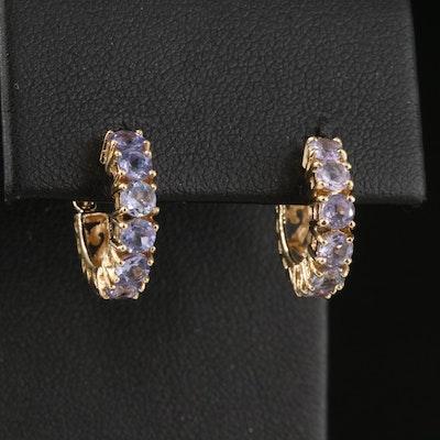 14K Hoop Earrings with Tanzanite