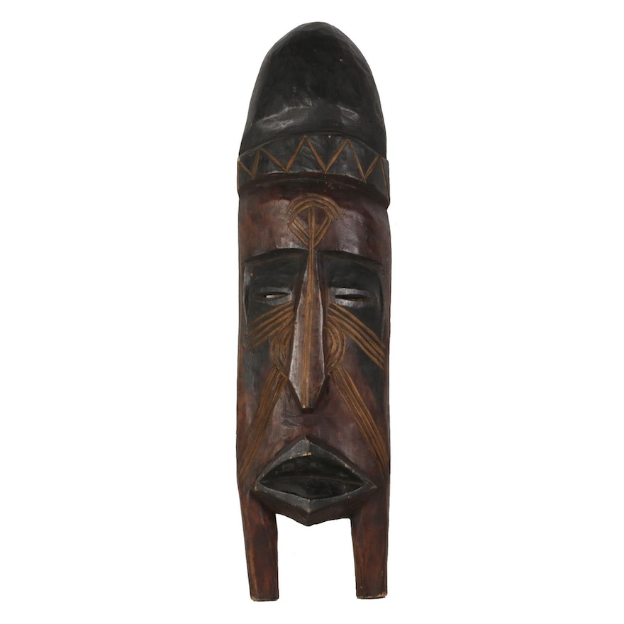 West African Wooden Mask Wall Hanging