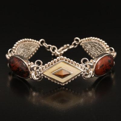 Sterling Tiger's Eye Quartz, Mahogany Obsidian and Mother of Pearl Bracelet