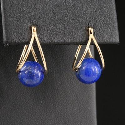 14K Double Hoop Earrings with Suspended Lapis Lazuli Spheres