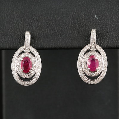 14K Oval Faceted Ruby Drop Earrings with Double Diamond Halos