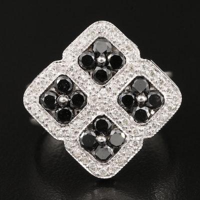 14K 1.26 CTW Diamond Four Square Ring