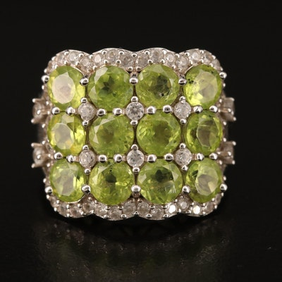 Sterling Peridot and Zircon Cluster Ring