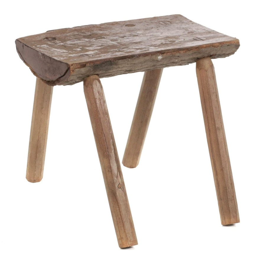 Rustic Sawn Log Footstool, 20th Century