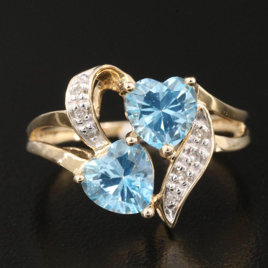 10K Diamond and Sky Blue Topaz Hearts Ring