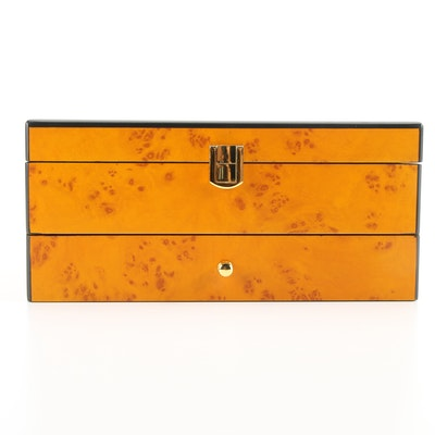Burl Wood Finish Wooden Jewelry Box