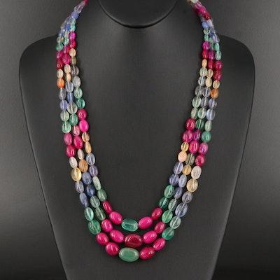 Triple Strand Multicolored Beaded Quartz Bib Necklace