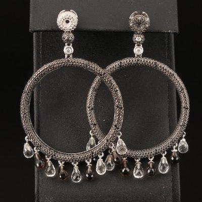 Sterling Rock Quartz Crystal, Smoky Quartz and Cubic Zirconia Fringe Earrings