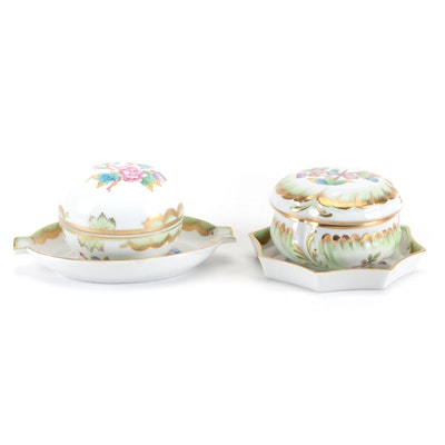 """Herend """"Queen Victoria"""" Porcelain Lidded Bonbon Boxes and Ashtrays"""