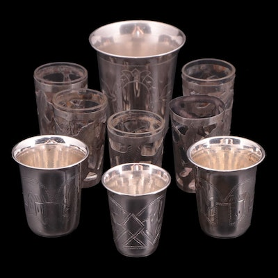 Mexican Glasses with Sterling Silver Overlay and Russian 800 Silver Vodka Cups