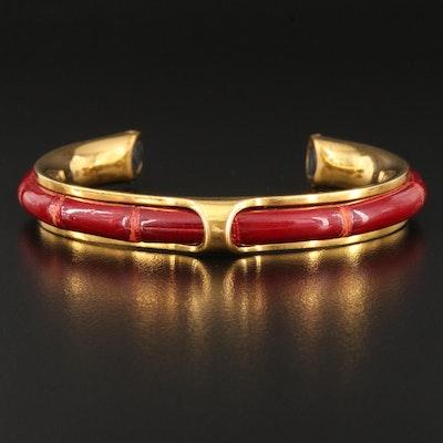 """Hermès """"Kyoto"""" Red Leather Cuff"""