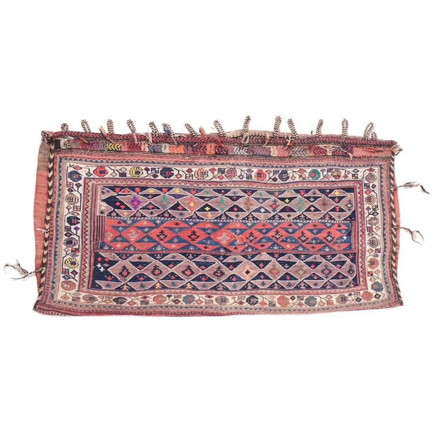 2'7 x 5'11 Handwoven Northwest Persian Shahsevan Soumak Storage Bag