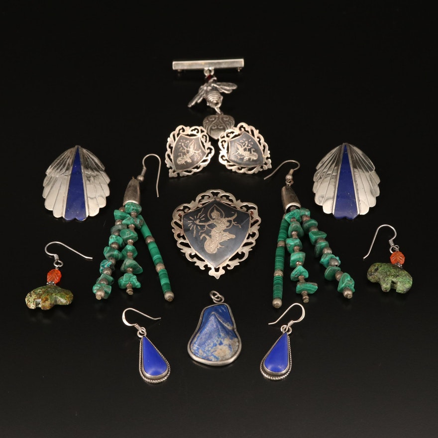 Jewelry Grouping Including Siam, Malachite, Marble and Lapis Lazuli
