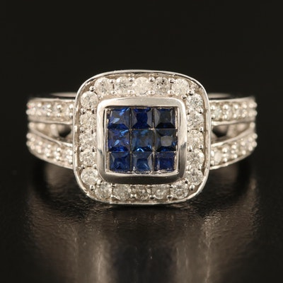14K Sapphire Ring with Diamond Lined Split Shoulders and Halo