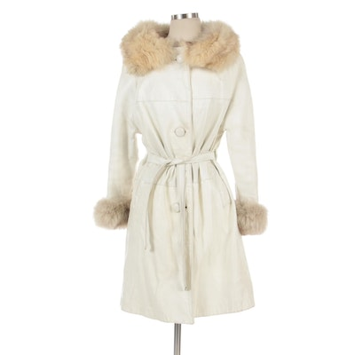 White Leather Anorak with Fox Fur Trim at Collar and Cuffs