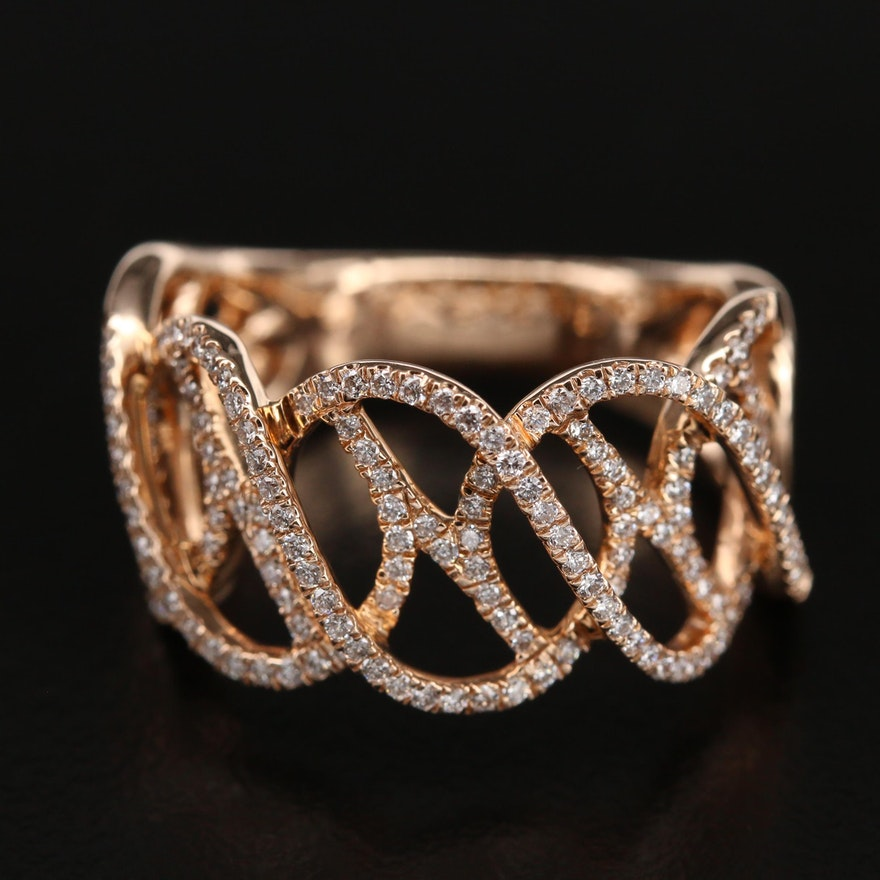 14K 0.60 CTW Diamond Woven Openwork Ring