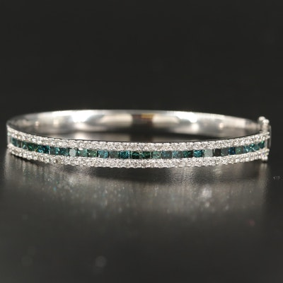 14K Hinged 4.75 CTW Diamond Bangle with Fancy Blue Diamonds