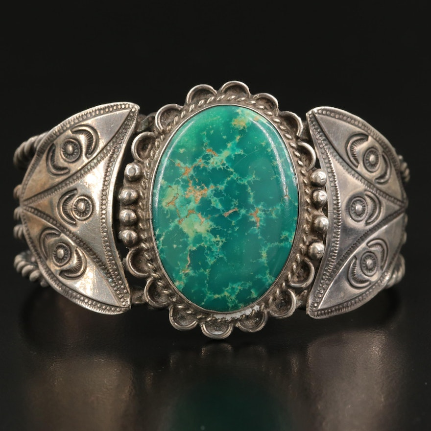 Southwestern Style Sterling Turquoise Cuff with Stampwork Details