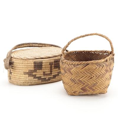 Handcrafted Choctaw Cane Basket and Tohono O'Odham Lidded Basket