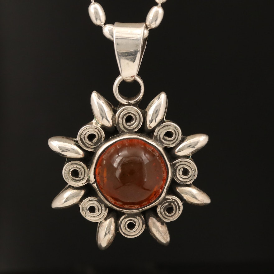 Mexican Sterling Amber Pendant Necklace