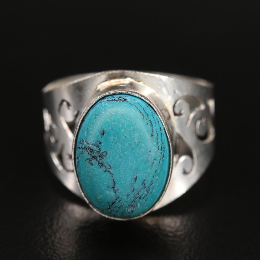 Faux Turquoise Bezel Ring with Cut Out Shoulders