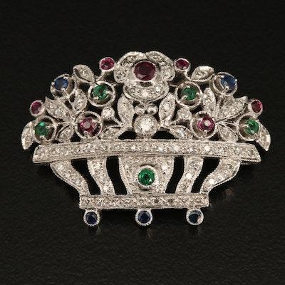 18K Sapphire, Ruby, Emerald and Diamond Giardinetti Brooch