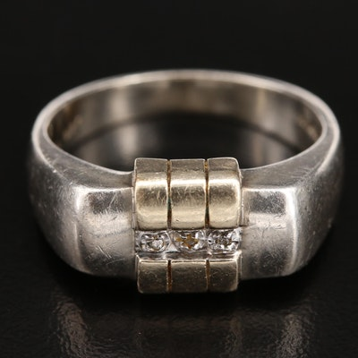 Sterling Diamond Bar Ring with 10K Accents