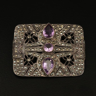 Sterling Silver Amethyst and Marcasite Brooch