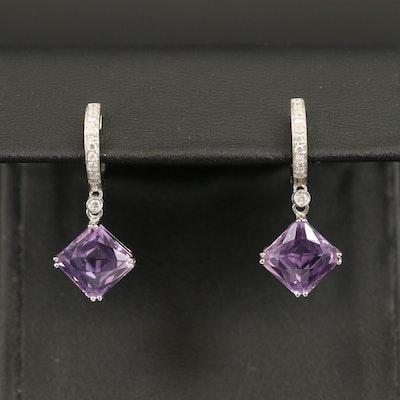 18K Amethyst and Diamond Drop Earrings