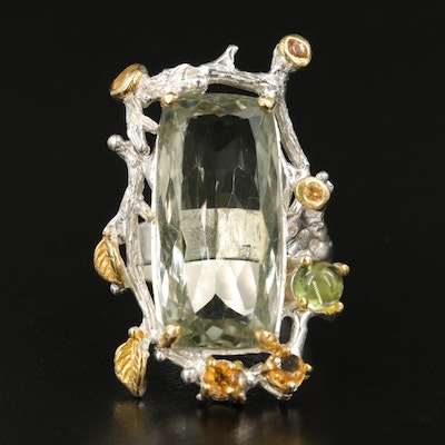 Sterling Praseolite Foliate Ring Accented by Citrine and Peridot