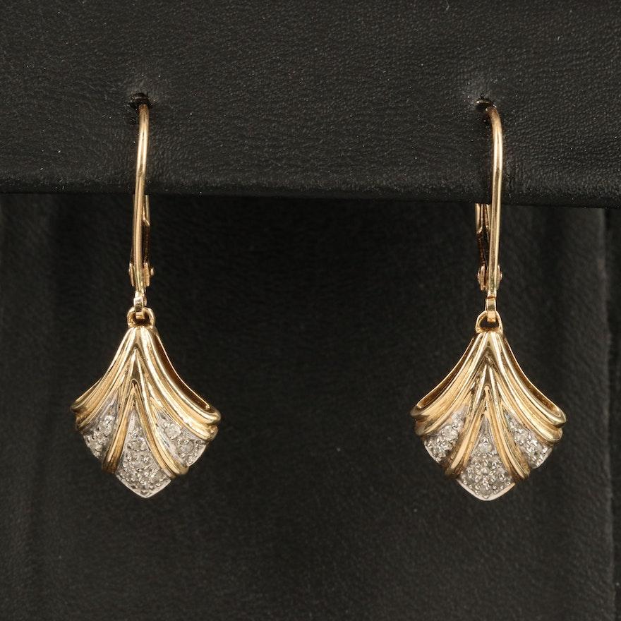 14K 0.20 CTW Diamond Palmette Earrings