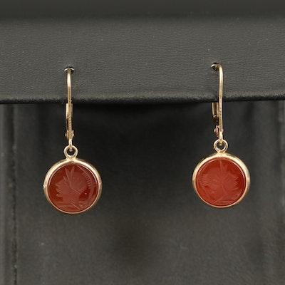 14K Intaglio Roman Soldier Carnelian Drop Earrings