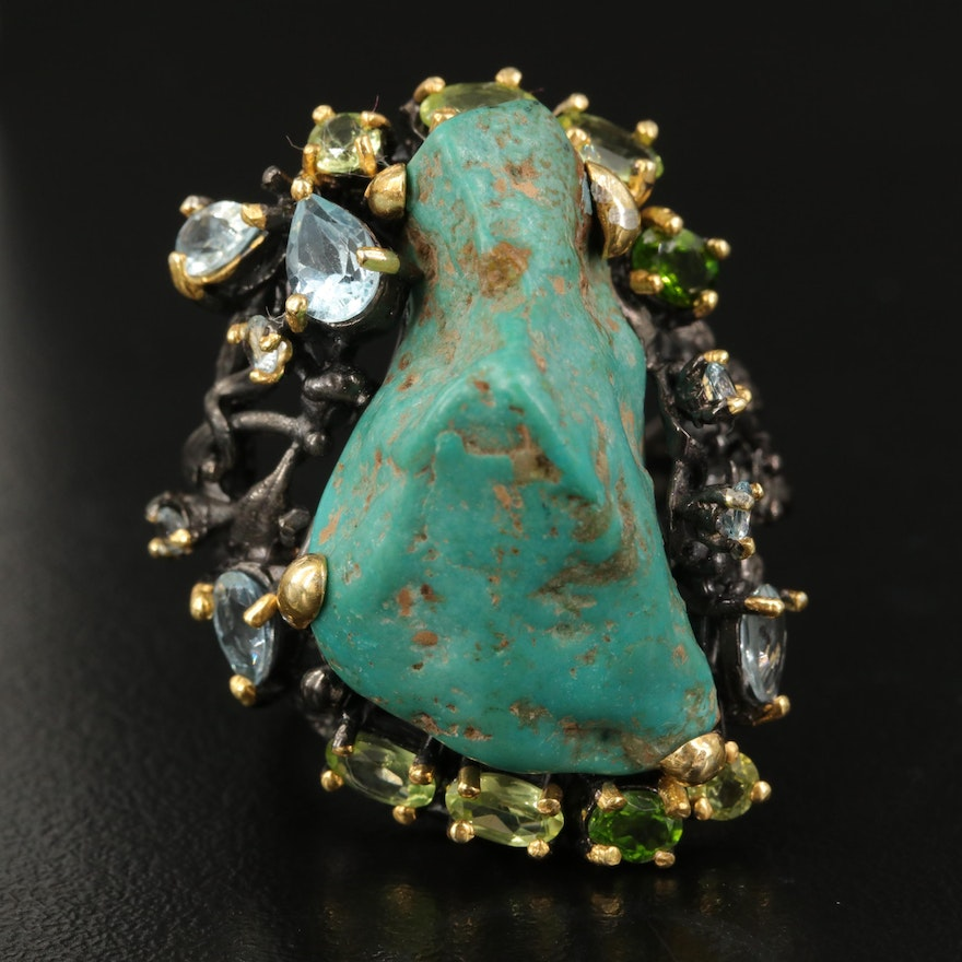 Sterling Turquoise Biomorphic Ring Accented by Topaz and Peridot