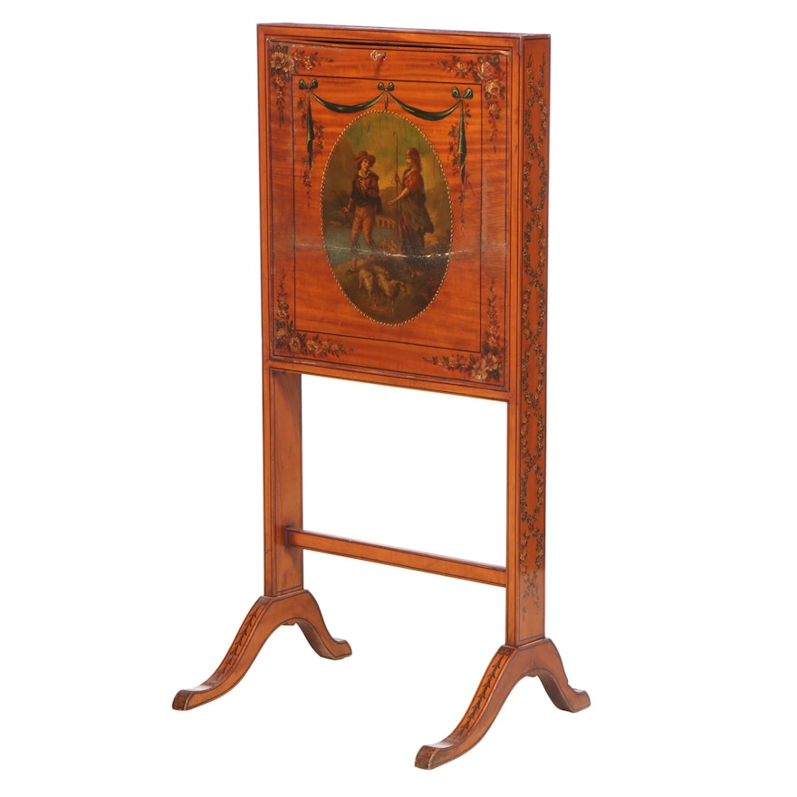 Marshall Fields George III Style Painted Satinwood Firescreen Fall Front Desk