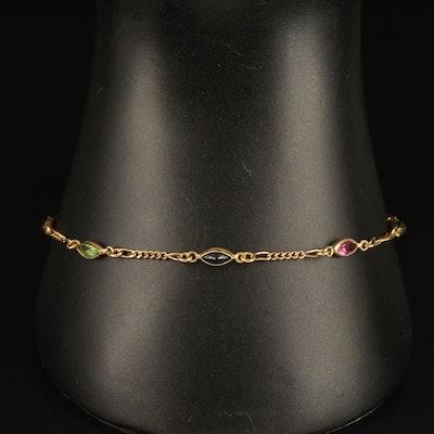 14K Italian Gold Station Bracelet