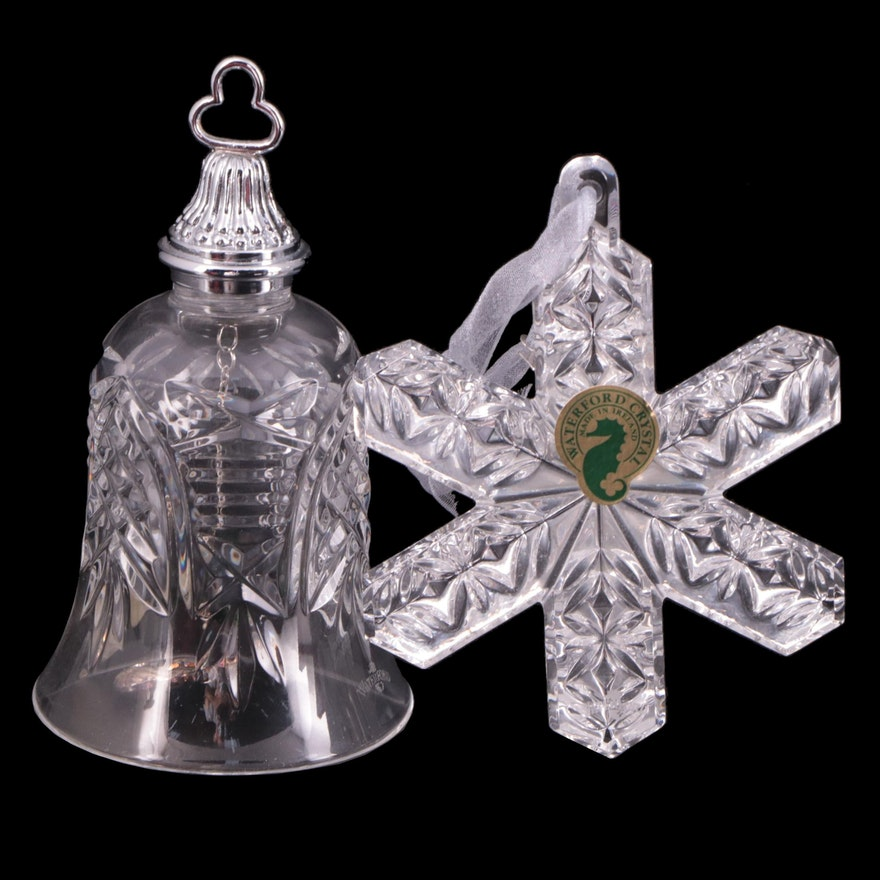 """Waterford """"12 Days of Christmas"""" Crystal Bell and Snowflake Ornament"""