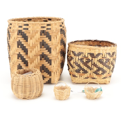 Signed Cherokee River Cane, Reed and Egg Baskets
