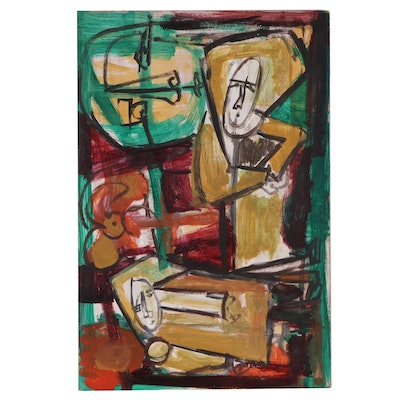 Bernice Fisher Stacy Abstract Figural Oil Painting