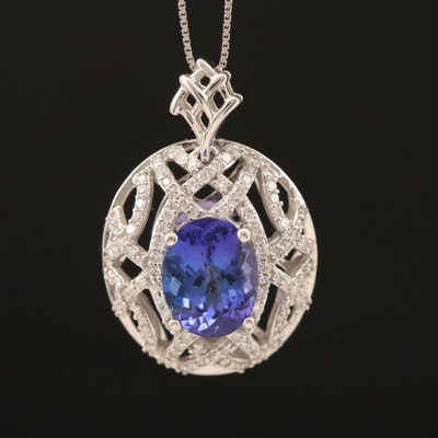 14K 2.65 CT Tanzanite and Diamond Openwork Pendant Necklace