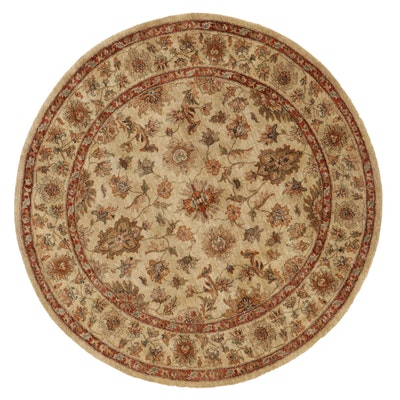 """5'11 Round Hand-Knotted Indian """"Impressions of Kashan"""" Area Rug"""