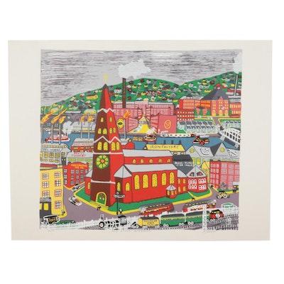 "Kathleen Ferri Folk Art Serigraph ""Old Strip District,"" Late 20th Century"