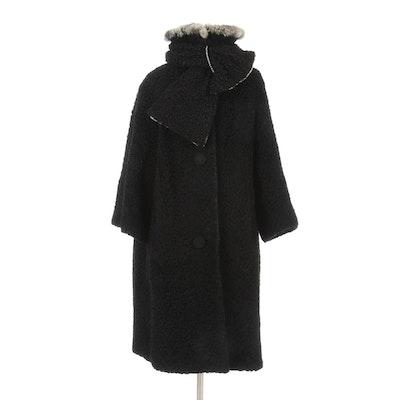Halldon Ltd. Lustrelam Faux Fur Coat and Scarf with Rabbit Fur Collar, 1960s