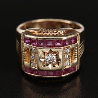 14K Diamond, Cubic Zirconia and Ruby Ring