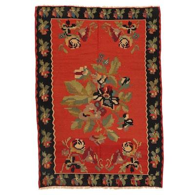 6'8 x 9'11 Handwoven Turkish Karabağ Floral Kilim Area Rug