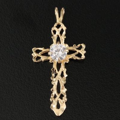 14K Cubic Zirconia Openwork Cross Pendant