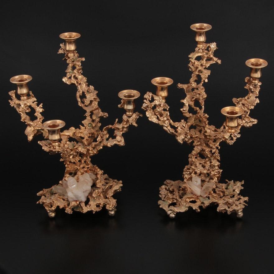 "French Claude Victor Boeltz Gilt ""Exploded Bronze"" and Quartz Candelabra, 1970s"