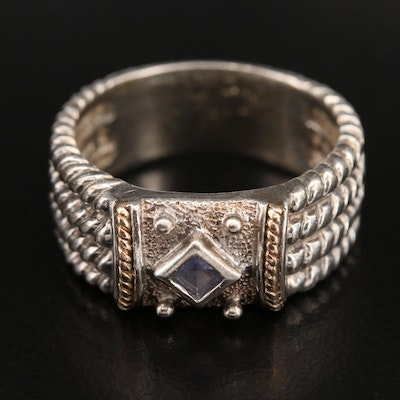 Sterling Tanzanite Ring with 14K Accents and Braided Shoulders