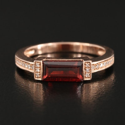 14K Rose Gold East-West Garnet and Diamond Ring